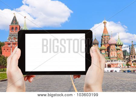 Tablet Pc And Vasilevsky Descent Of Red Square