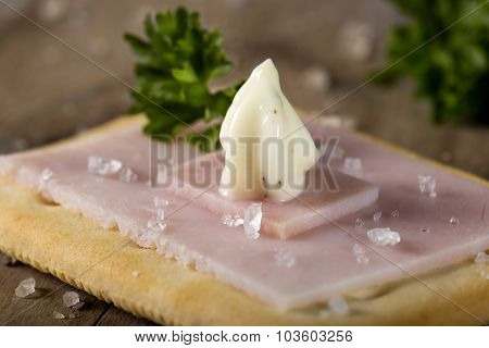 Cracker With Ham And Roumulade Sauce