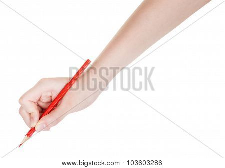 Hand Drafts By Red Pencil Isolated On White