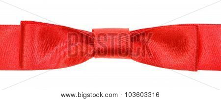 Real Red Bow Knot On Wide Satin Tape Isolated