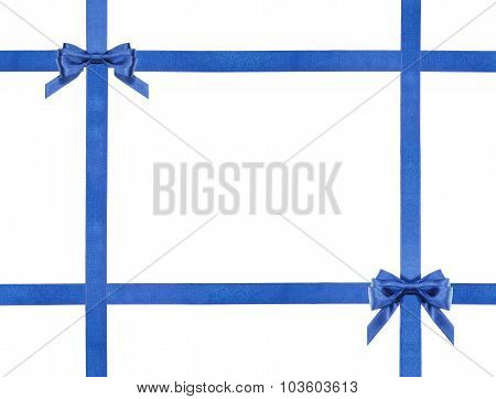 Blue Satin Bows And Ribbons Isolated - Set 21