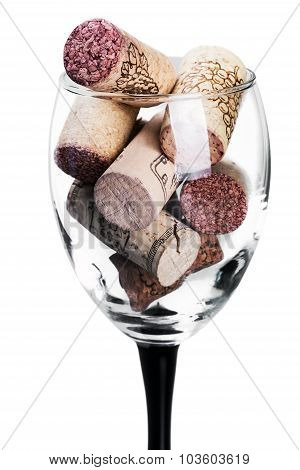 Wine Corks In Glass Isolated