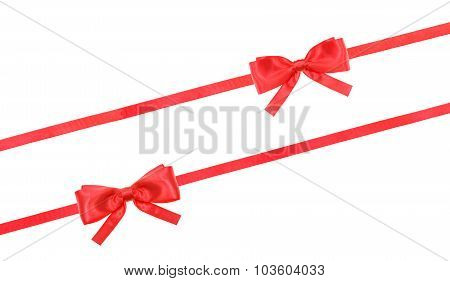 Red Satin Bow Knot And Ribbons On White - Set 58