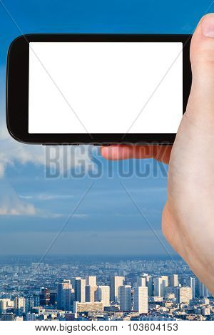 Smartphone With Cut Out Screen And Paris City