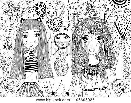 carnival doodle illustration
