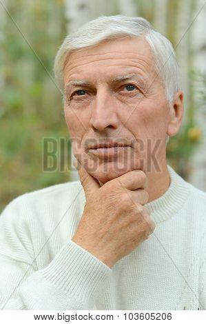 thoughtful senior man  in  park