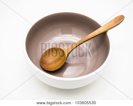 Grey Bowl With Wooden Spoon