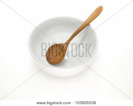 White Bowl With Wooden Spoon
