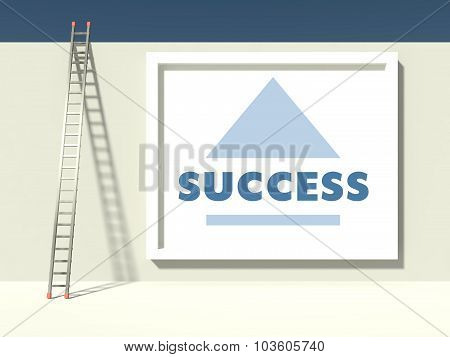 Ladder Of Success On Wall With Poster