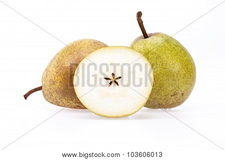 Some Fresh Pears On White Background, Close Up