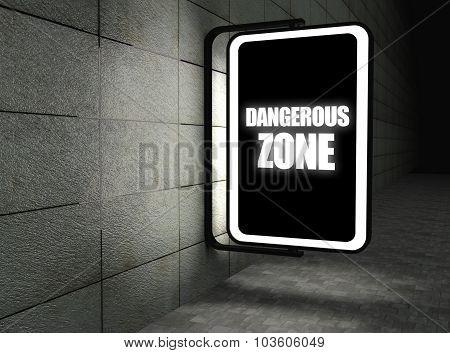 Dangerous Zone Warning Sign At Night