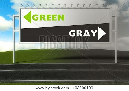Conceptual Direction Signs Lead To Green Or Gray