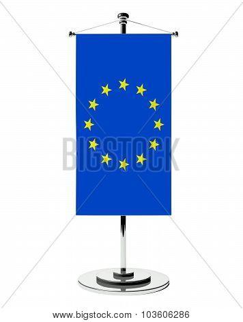 3D European Union Table Flag Isolated White