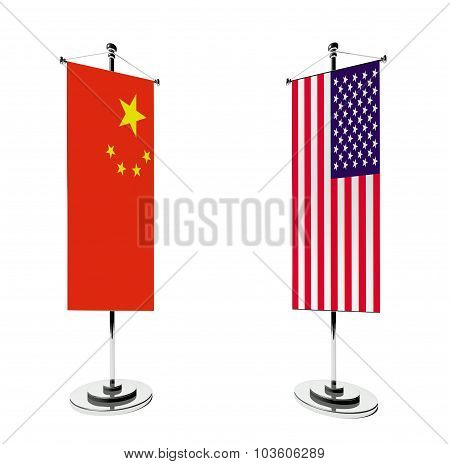 3D Chinese And American Table Flag Isolated White