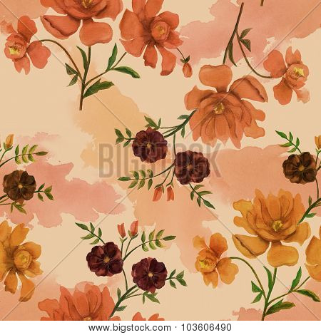 Retro-styled watercolor flowers seamless background pattern, toned