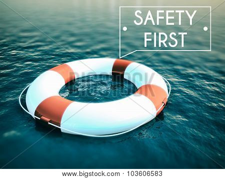 Safety First Sign Lifebuoy On Rough Water Waves