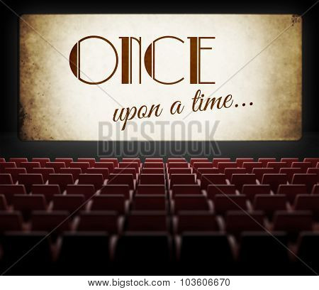 Once Upon A Time Movie Screen In Old Retro Cinema