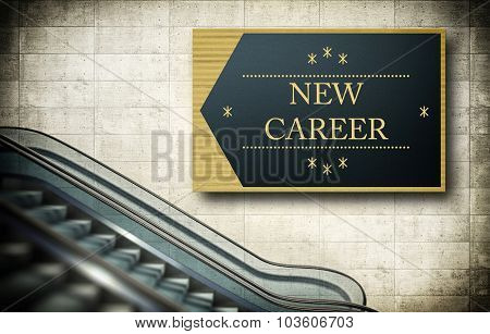 Moving Escalator Stairs With New Career