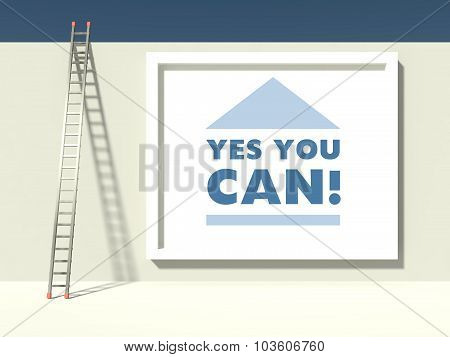 Ladder Of Success On Wall With Slogan