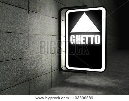 Glowing Ghetto Sign At Night