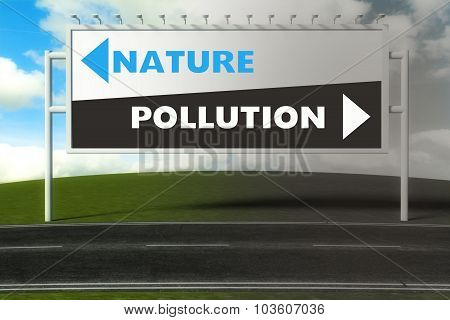 Conceptual Direction Signs Lead To Nature Or Pollution