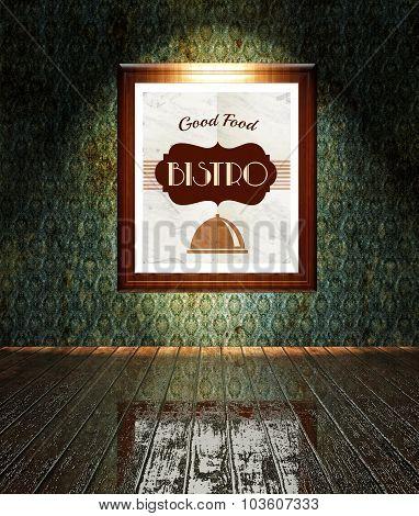 Vintage Bistro Restaurant Poster In Frame Old Interior