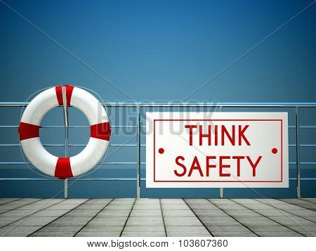 Think Safety Sign At The Swimming Pool, Lifebuoy