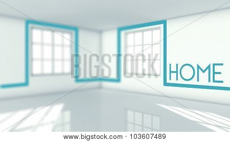 Home Sign In Empty Room, Concept For Own House