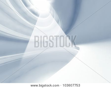 3D Modern Architecture Interior And Light Beams