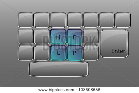 Vector Glass Keyboard With Sign Help