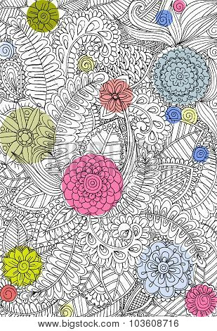 Color flowers and graphic pattern