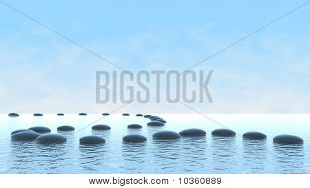 Pebble Path On Water