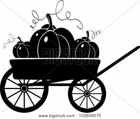 Cart With Pumpkins. Silhouette