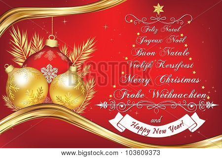 Business New Year greeting card in many languages