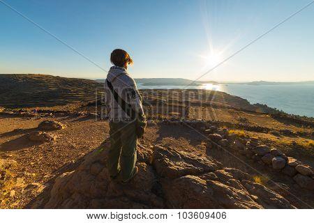 Setting Sun On Titicaca Lake, Amantani' Island, Peru