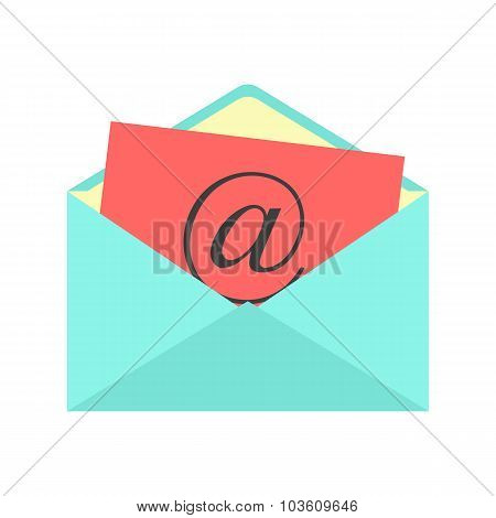 open envelope with red paper sheet and at sign