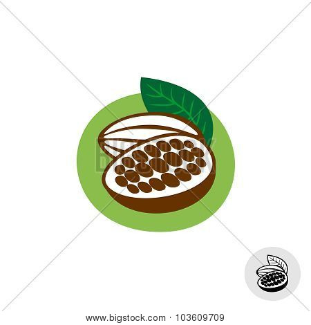 Cocoa Pod With Beans Vector Badge Symbol
