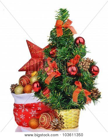 Composition With Christmas Tree Bag Toys And Star