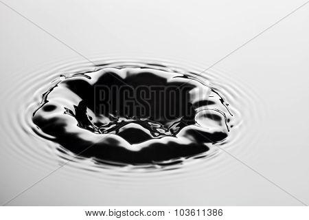 Water Splash Close Up With Drops, Grey Background