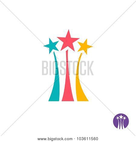 Fireworks Logo. Three Color Stars With Long Trails Sign.