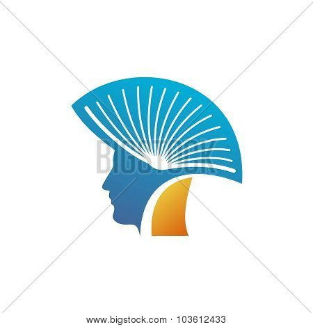 Head Of The Man With Open Book As A Mohawk Logo Template