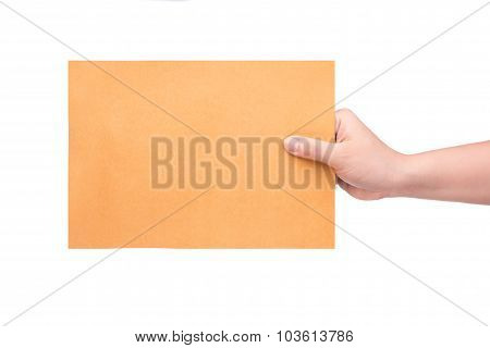 Woman's Hand Holding Envelope On White Background