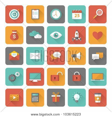 Set of 25 flat office, business, media and web design icons with long shadow effect. Vector illustra