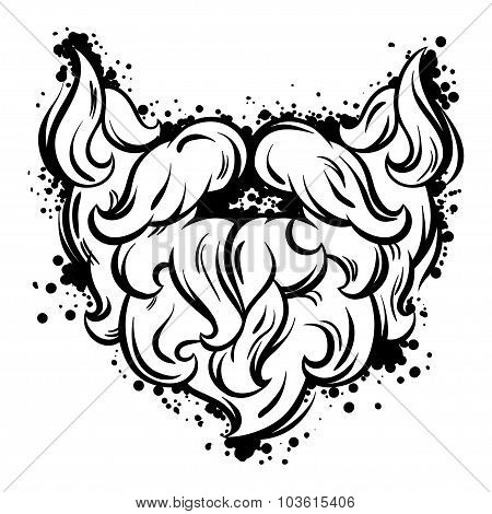 Hipster mustache and beard in line art style
