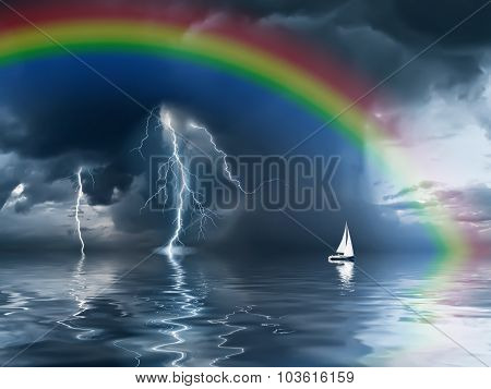 Thunderstorm With Rainbow And Yacht