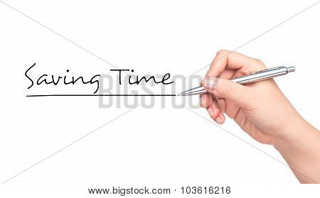 Saving Time hand writing with a black mark on a transparent board