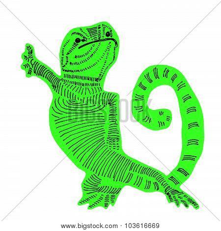 Doodle sticker hand drawn cute lizard