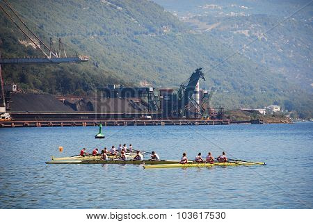Rowing Team Practising In Bakar Harbour