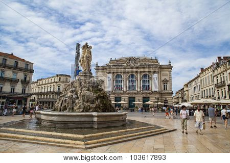 The Three Graces Fountain At Place De La Comedie