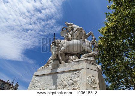La Fontaine Des Licornes In Montpellier, France
